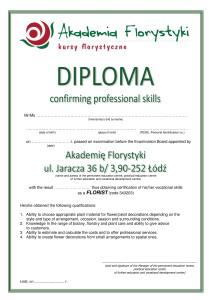 Dyplom potwierdzający przygotowanie do zawodu florysty po angielsku
