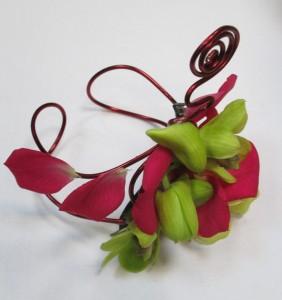 Ozdoba kwiatowa różowo-zielona