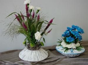 Bukiety kwiatowe w nietypowych naczyniach
