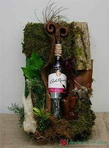 Florystyczna ozdoba na butelkę wina