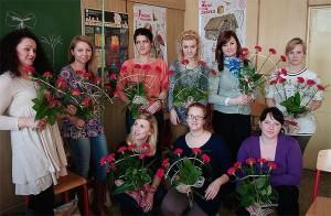 Florystyka kurs - uczestnicy z wachlarzami