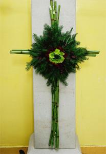 Kompozycja żałobna - krzyż zielony