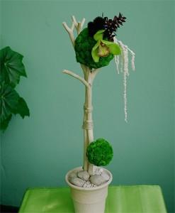 Kompozycja florystyczna w naczyniu zielone santini