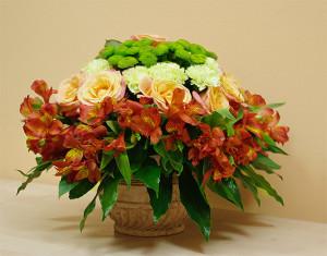 Kompozycja kwiatowa w dużej doniczce