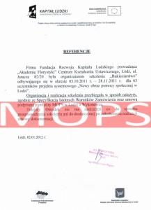 Referencje kurs florystyczny w Łodzi - MOPS