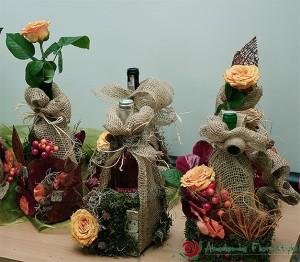 Ozdabianie butelek florystyczne - pakowanie prezentów