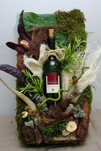Susz roślinny jako ozdoba butelki