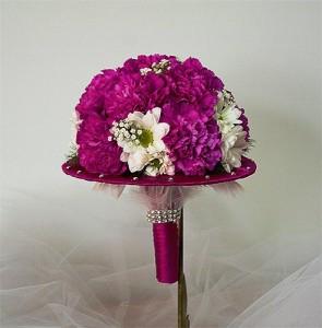 ślubny biedermeier bukiet fioletowy