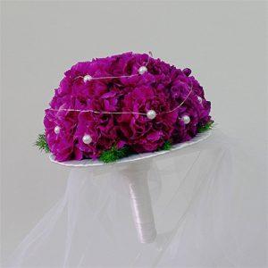 bukiet ślubny biedermeier fioletowy z perłami