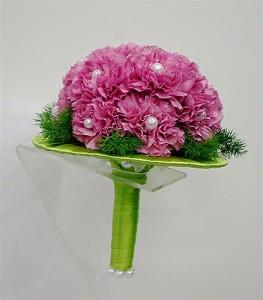 bukiet ślubny biedermeier różowy z zieloną kryzą