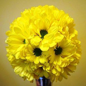 bukiet ślubny okrągły żółty