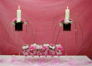 Dekoracja sali weselnej - świeczniki i kieliszki
