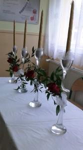 Dekoracja sali weselnej - świeczniki z rożą