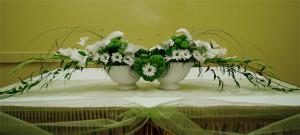 Dekoracja sali weselnej biało-zielona