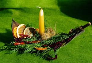 stroik świąteczny z cytrusami