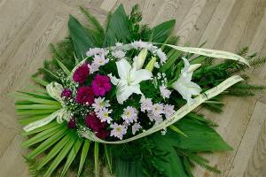 Wieńce na Wszystkich Świętych - Wieniec pogrzebowy fioletowo-biały