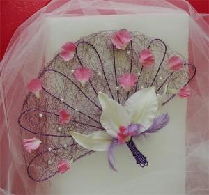 ślubny wachlarz kwiatowy na druciku