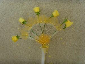 ślubny wachlarz kwiatowy z żółtymi różami