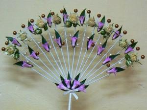 Wachlarz ślubny różowo-kremowy