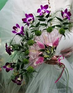 Wachlarz ślubny wykonany na kursie florystyki