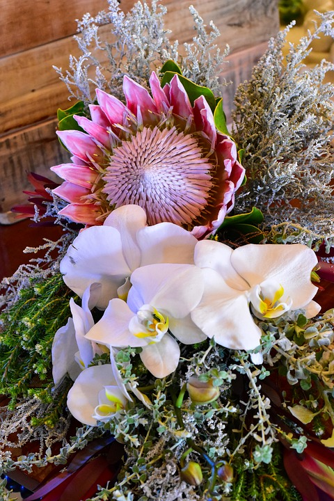 bukiet ślubny - protea