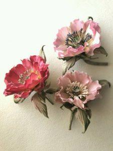 foamiran róźowe kwiaty