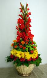 Kompozycja kwiatowa w donicy czerwono-żółta