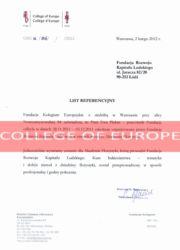 Referencje kurs florystyczny - Fundacja Kolegium Europejskiej w Warszawie