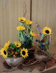 Żółte kwiaty w naczyniach
