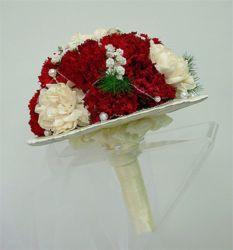 bukiet ślubny biedermeier biało-czerwony