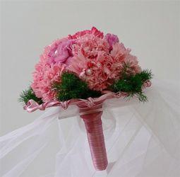 bukiet ślubny biedermeier różowy