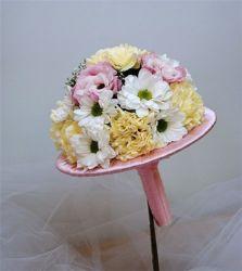 bukiet ślubny biedermeier z różową kryzą