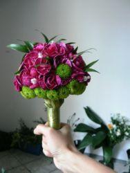 bukiet ślubny różowy biedermeier