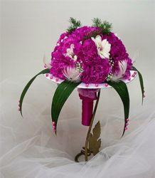 zdobiony bukiet ślubny biedermeier fioletowy