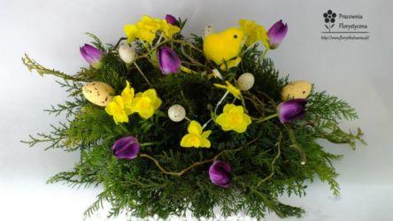 wielkanocny bukiet żółto-fioletowy