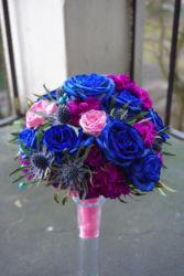 niebiesko-różowa-wiązanka-ślubna-kraków